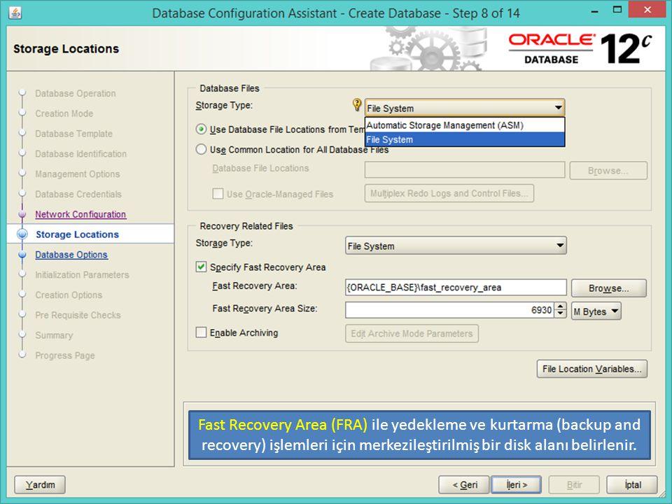 Fast Recovery Area (FRA) ile yedekleme ve kurtarma (backup and recovery) işlemleri için merkezileştirilmiş bir disk alanı belirlenir.