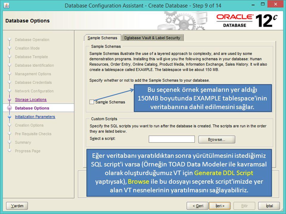 Bu seçenek örnek şemaların yer aldığı 150MB boyutunda EXAMPLE tablespace inin veritabanına dahil edilmesini sağlar.
