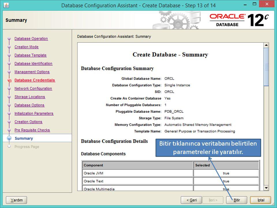 Bitir tıklanınca veritabanı belirtilen parametreler ile yaratılır.