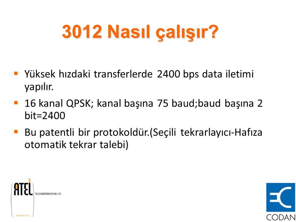 3012 Nasıl çalışır Yüksek hızdaki transferlerde 2400 bps data iletimi yapılır. 16 kanal QPSK; kanal başına 75 baud;baud başına 2 bit=2400.