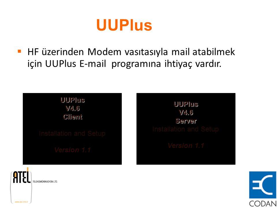 UUPlus HF üzerinden Modem vasıtasıyla mail atabilmek için UUPlus E-mail programına ihtiyaç vardır.
