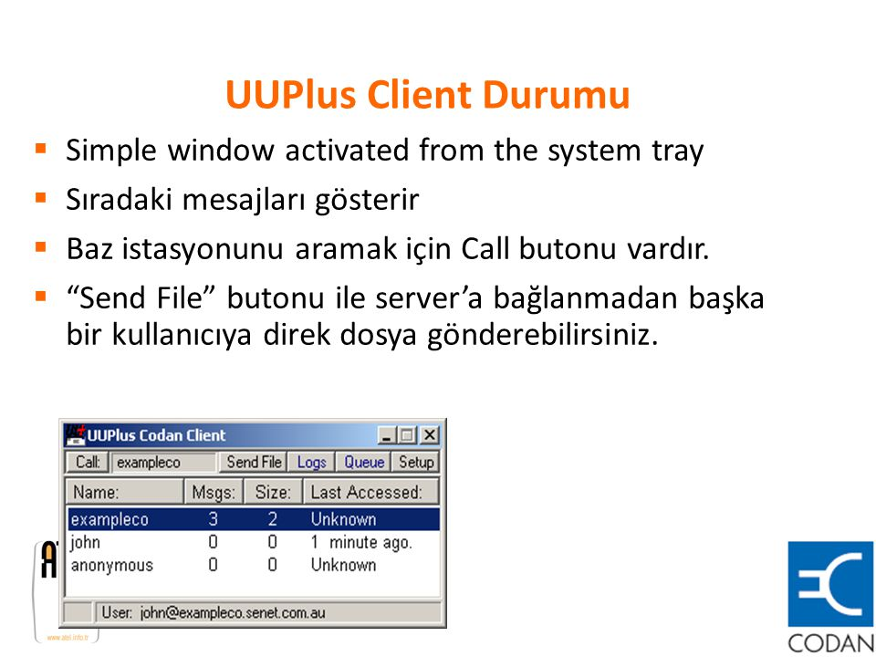 UUPlus Client Durumu Simple window activated from the system tray