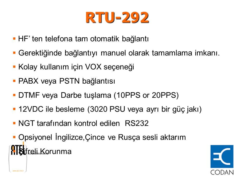 RTU-292 HF' ten telefona tam otomatik bağlantı