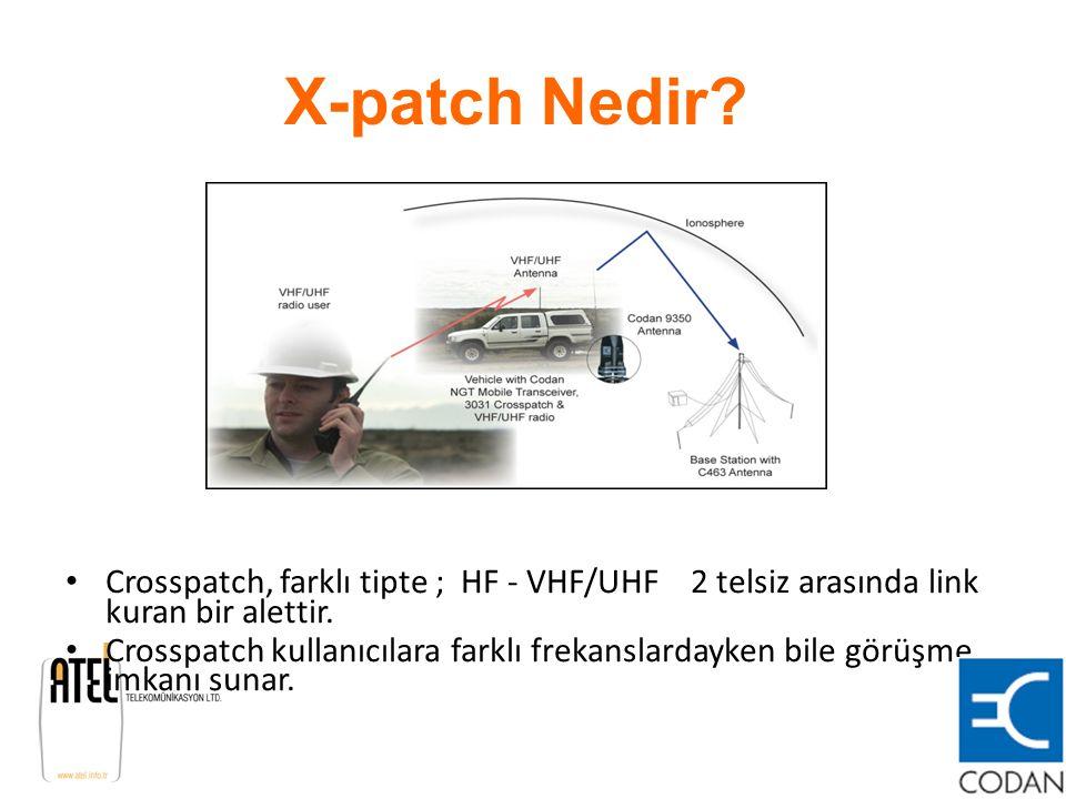 X-patch Nedir Crosspatch, farklı tipte ; HF - VHF/UHF 2 telsiz arasında link kuran bir alettir.