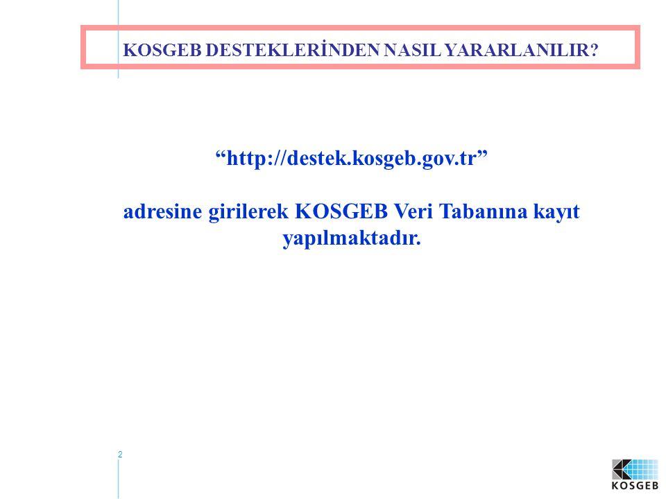 adresine girilerek KOSGEB Veri Tabanına kayıt yapılmaktadır.