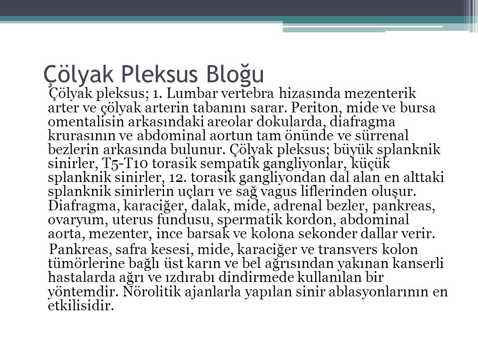 Çölyak Pleksus Bloğu