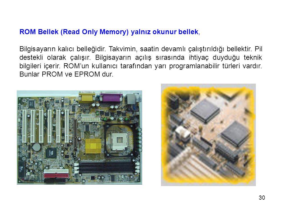 ROM Bellek (Read Only Memory) yalnız okunur bellek,