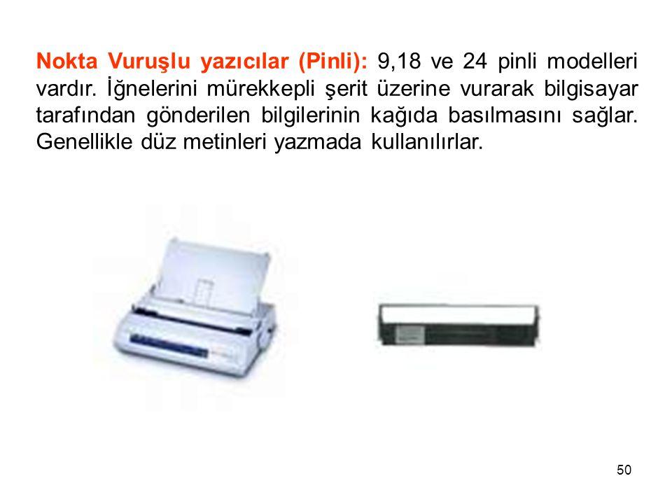 Nokta Vuruşlu yazıcılar (Pinli): 9,18 ve 24 pinli modelleri vardır
