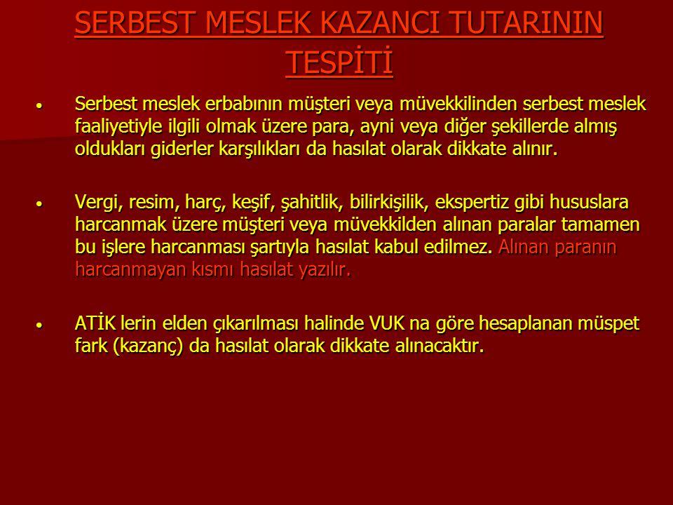 SERBEST MESLEK KAZANCI TUTARININ TESPİTİ
