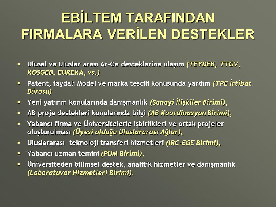 EBİLTEM TARAFINDAN FIRMALARA VERİLEN DESTEKLER