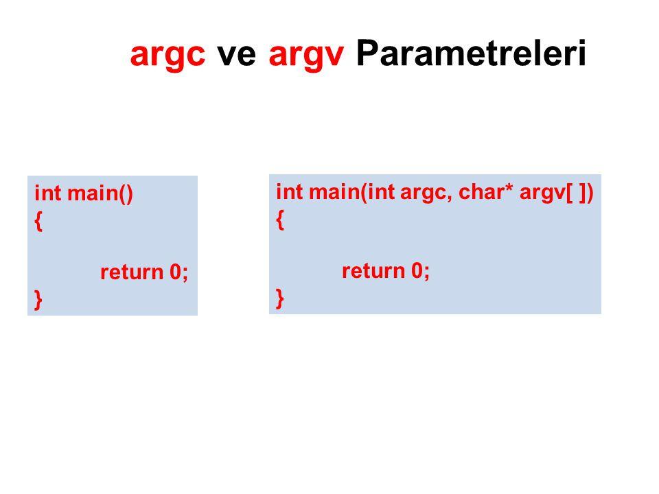argc ve argv Parametreleri