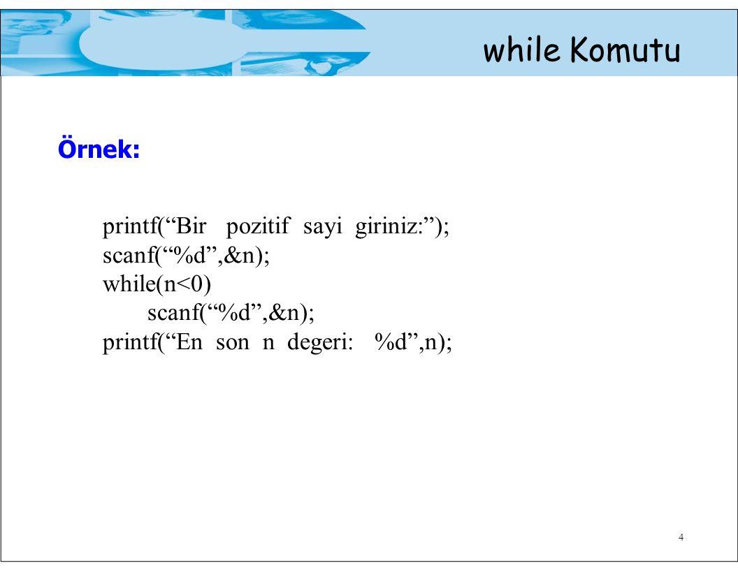 Örnek: while Komutu printf( Bir pozitif sayi giriniz: );