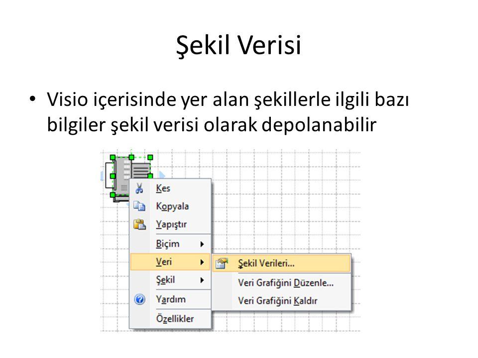 Şekil Verisi Visio içerisinde yer alan şekillerle ilgili bazı bilgiler şekil verisi olarak depolanabilir.
