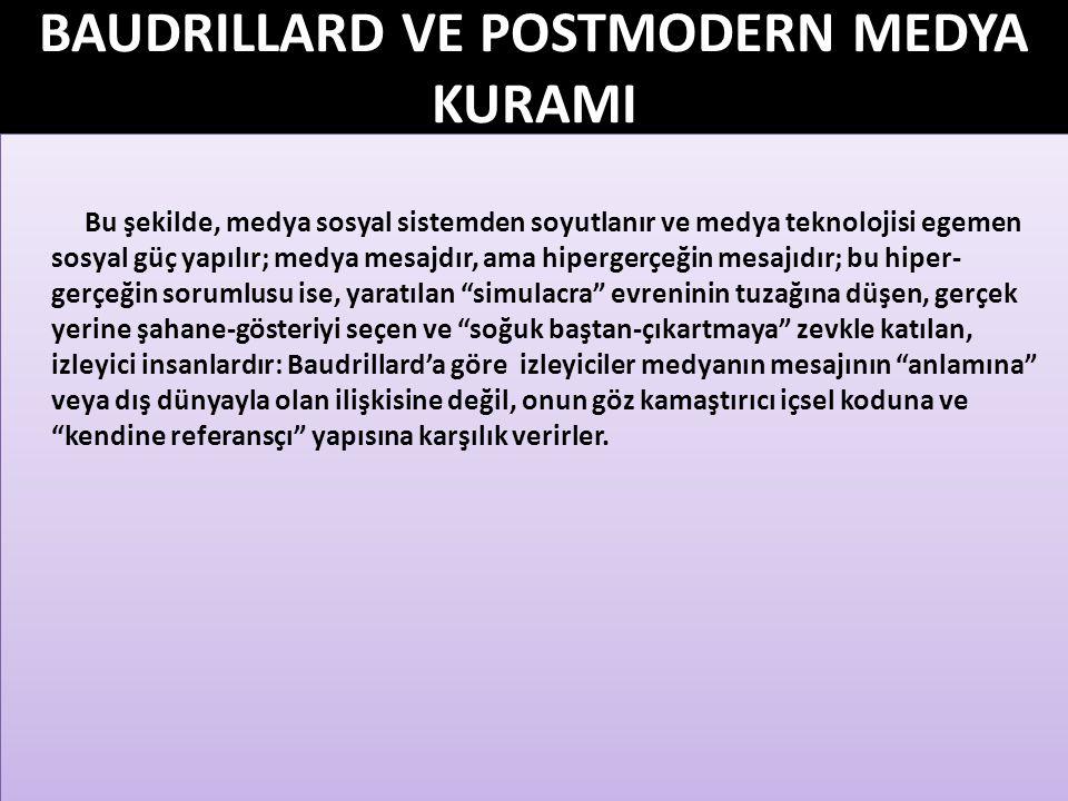 BAUDRILLARD VE POSTMODERN MEDYA KURAMI