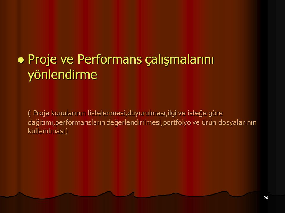 Proje ve Performans çalışmalarını yönlendirme