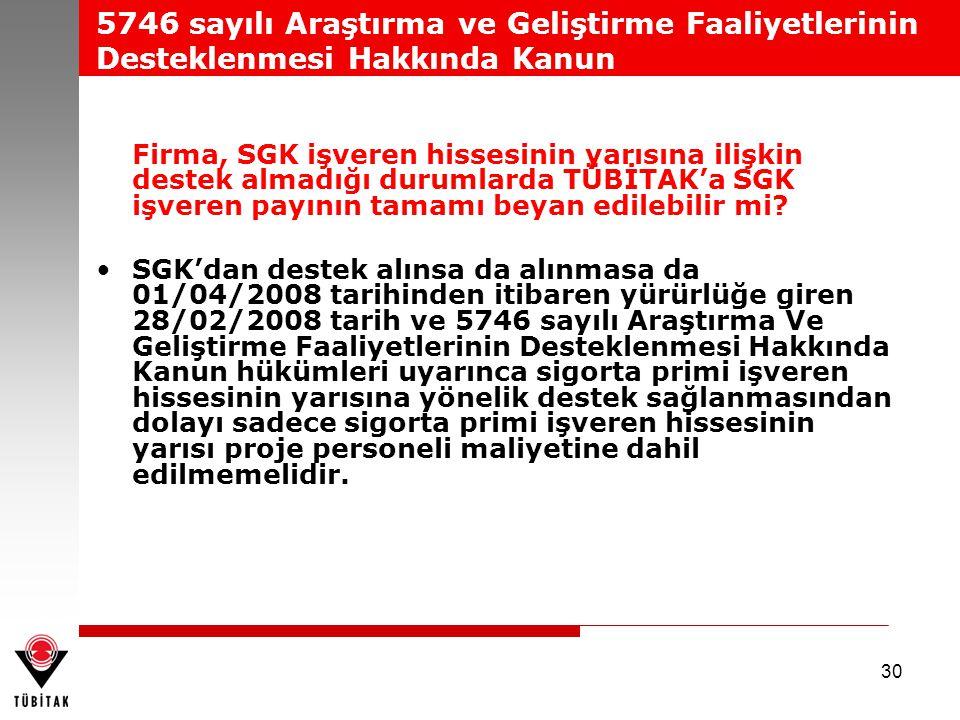5746 sayılı Araştırma ve Geliştirme Faaliyetlerinin Desteklenmesi Hakkında Kanun