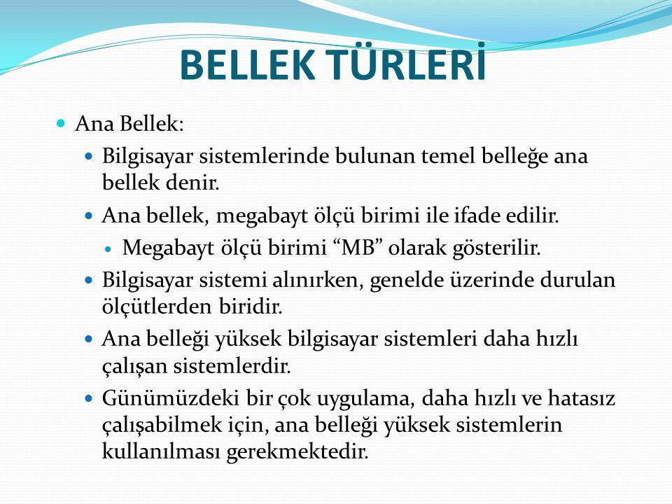BELLEK TÜRLERİ Ana Bellek: