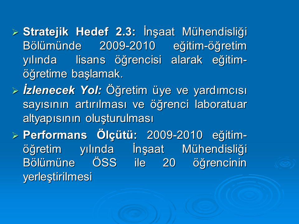 Stratejik Hedef 2.3: İnşaat Mühendisliği Bölümünde 2009-2010 eğitim-öğretim yılında lisans öğrencisi alarak eğitim- öğretime başlamak.