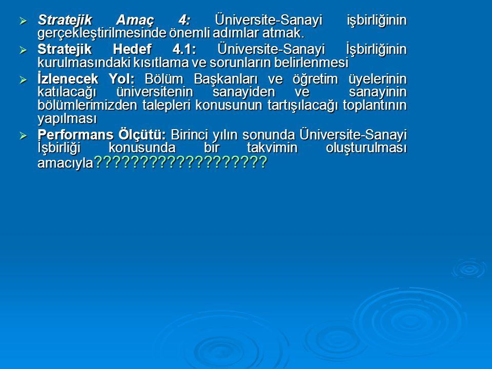 Stratejik Amaç 4: Üniversite-Sanayi işbirliğinin gerçekleştirilmesinde önemli adımlar atmak.