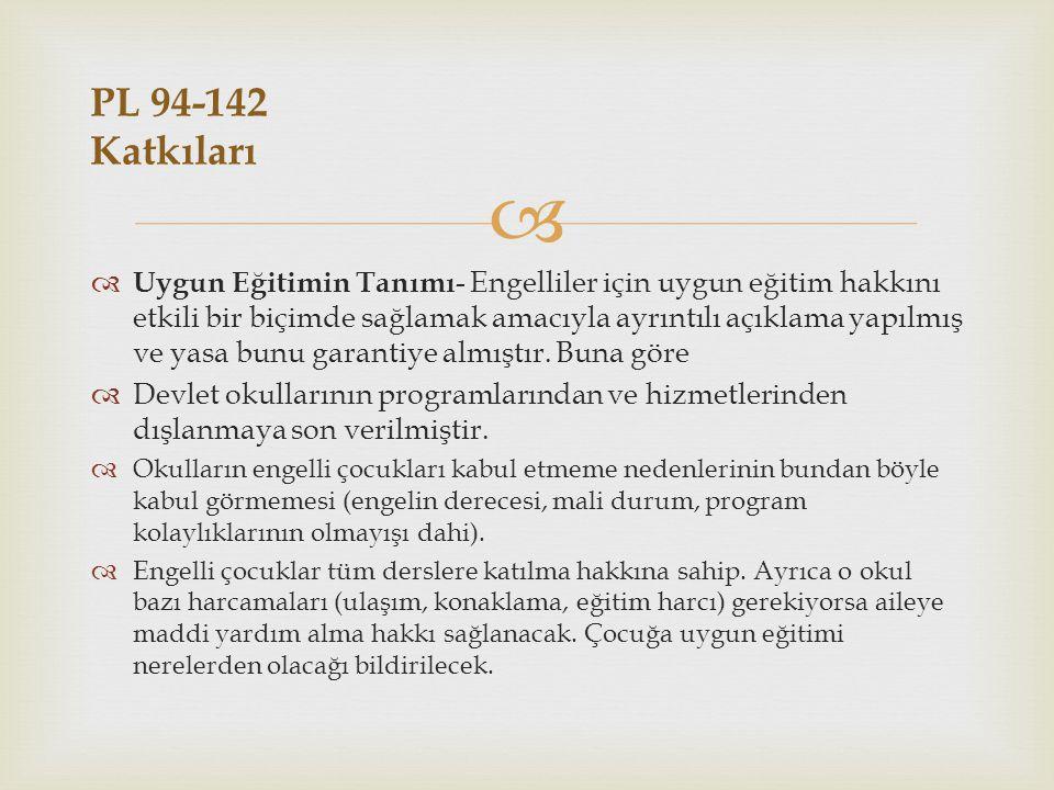 PL 94-142 Katkıları