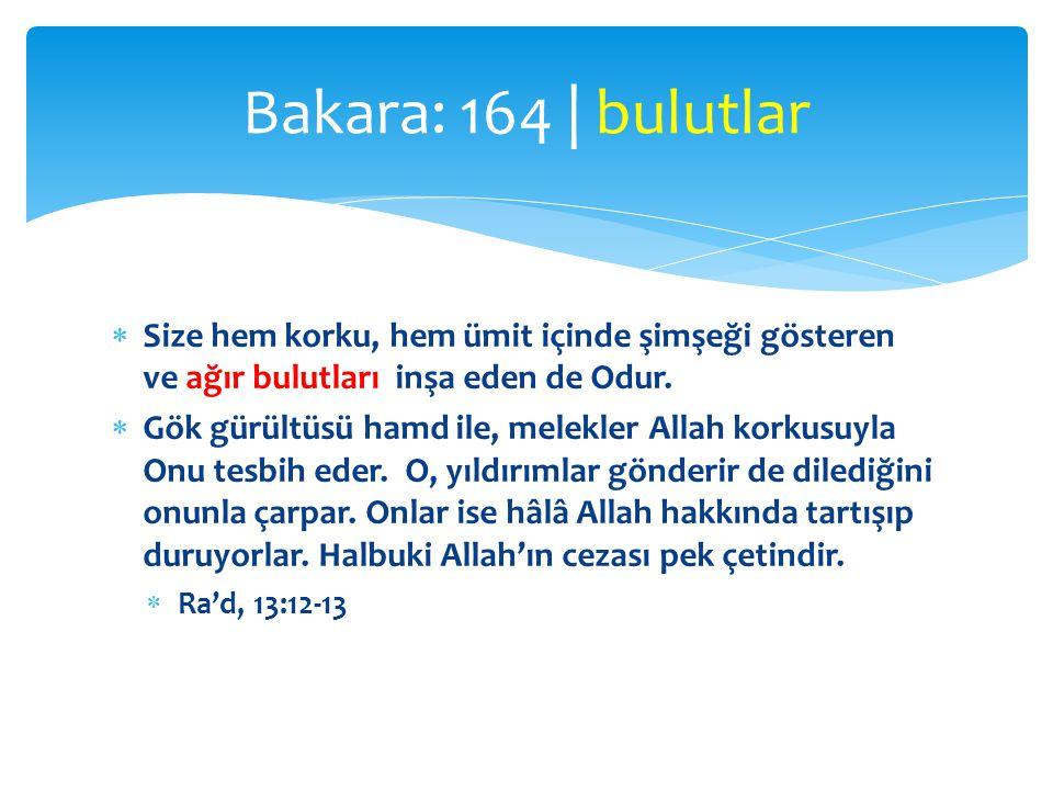 Bakara: 164 | bulutlar Size hem korku, hem ümit içinde şimşeği gösteren ve ağır bulutları inşa eden de Odur.