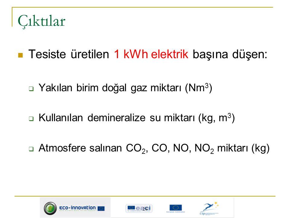 Çıktılar Tesiste üretilen 1 kWh elektrik başına düşen: