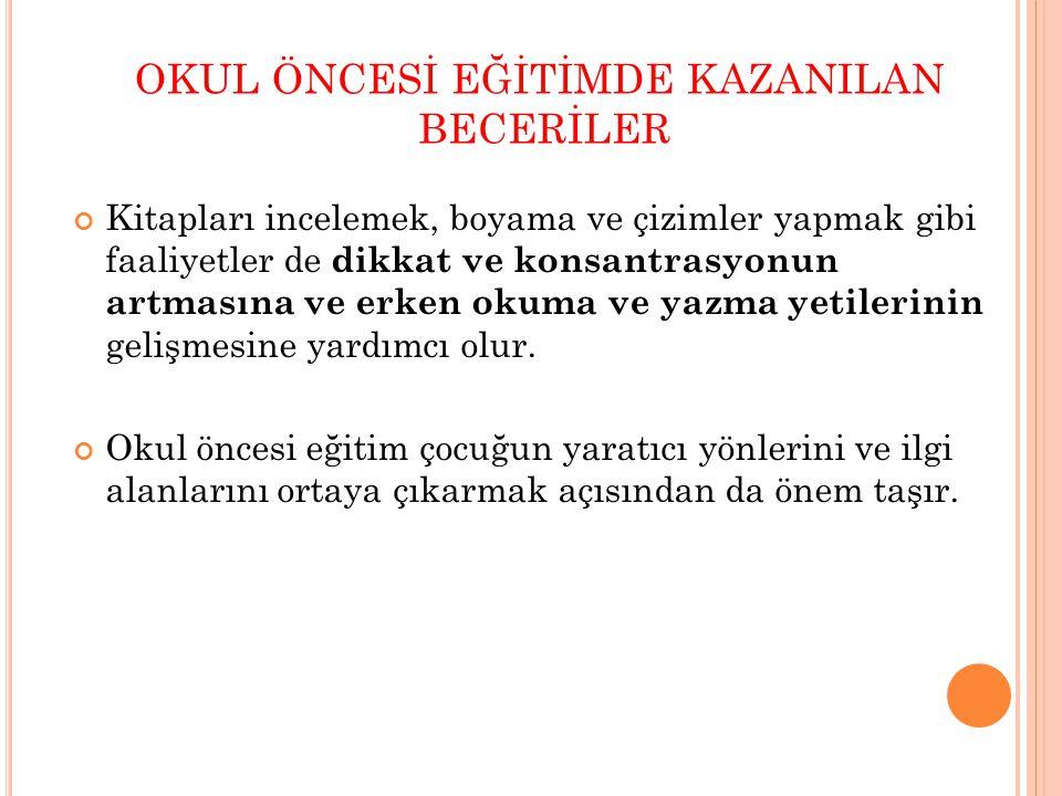 OKUL ÖNCESİ EĞİTİMDE KAZANILAN