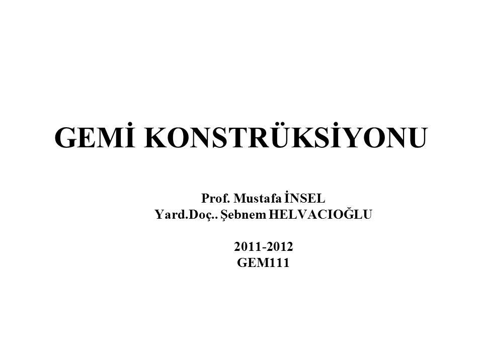 GEMİ KONSTRÜKSİYONU Prof. Mustafa İNSEL Yard. Doç