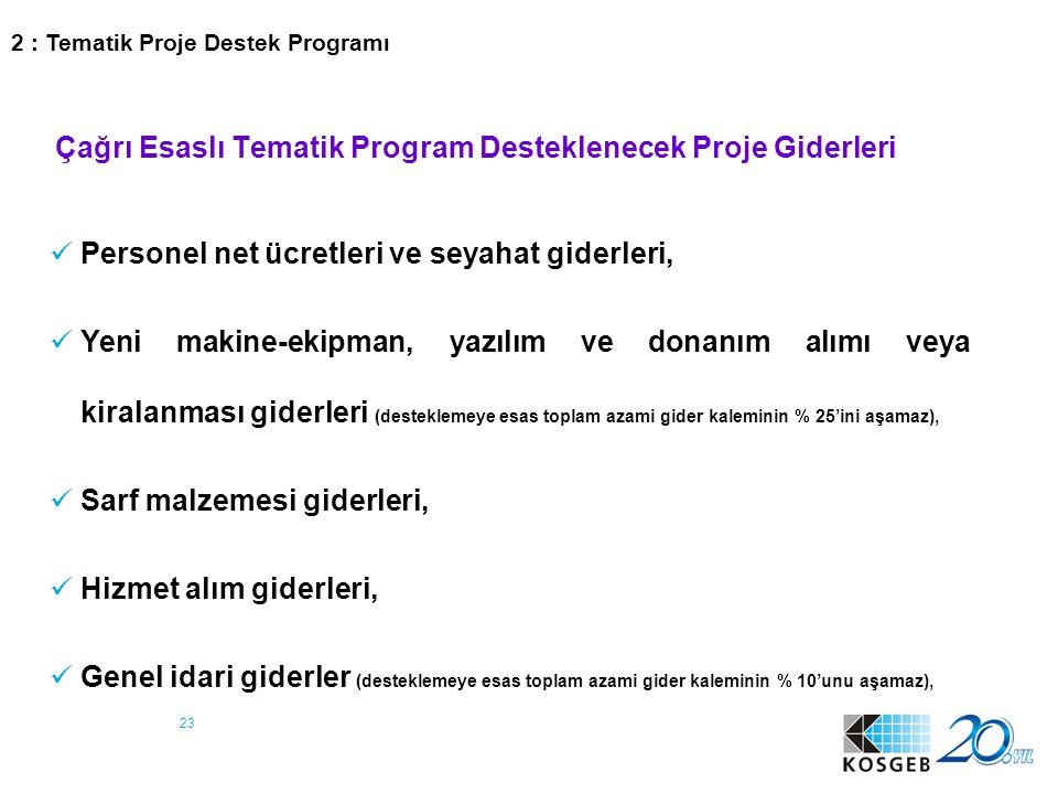 Çağrı Esaslı Tematik Program Desteklenecek Proje Giderleri