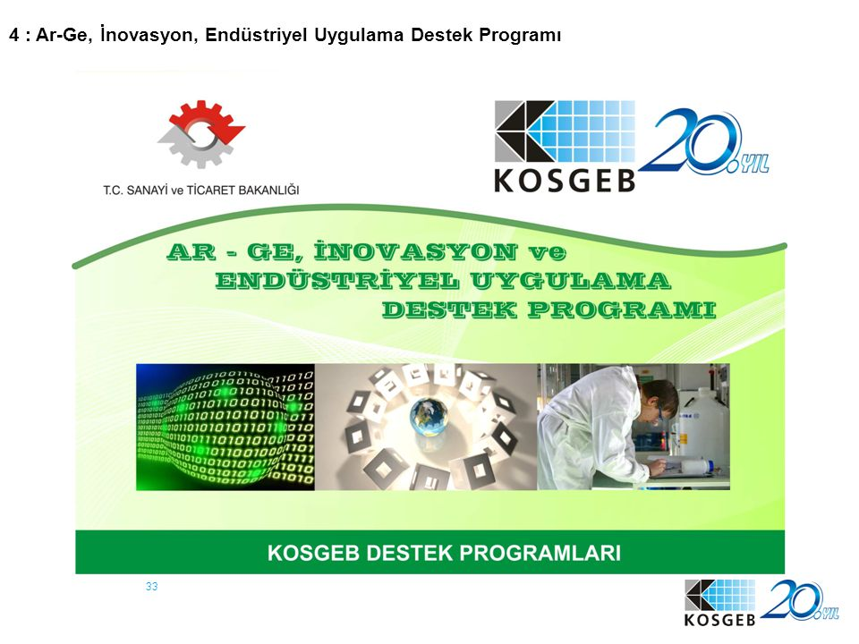 4 : Ar-Ge, İnovasyon, Endüstriyel Uygulama Destek Programı