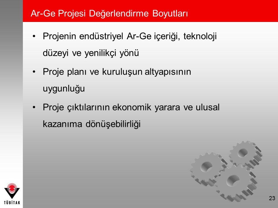 Ar-Ge Projesi Değerlendirme Boyutları