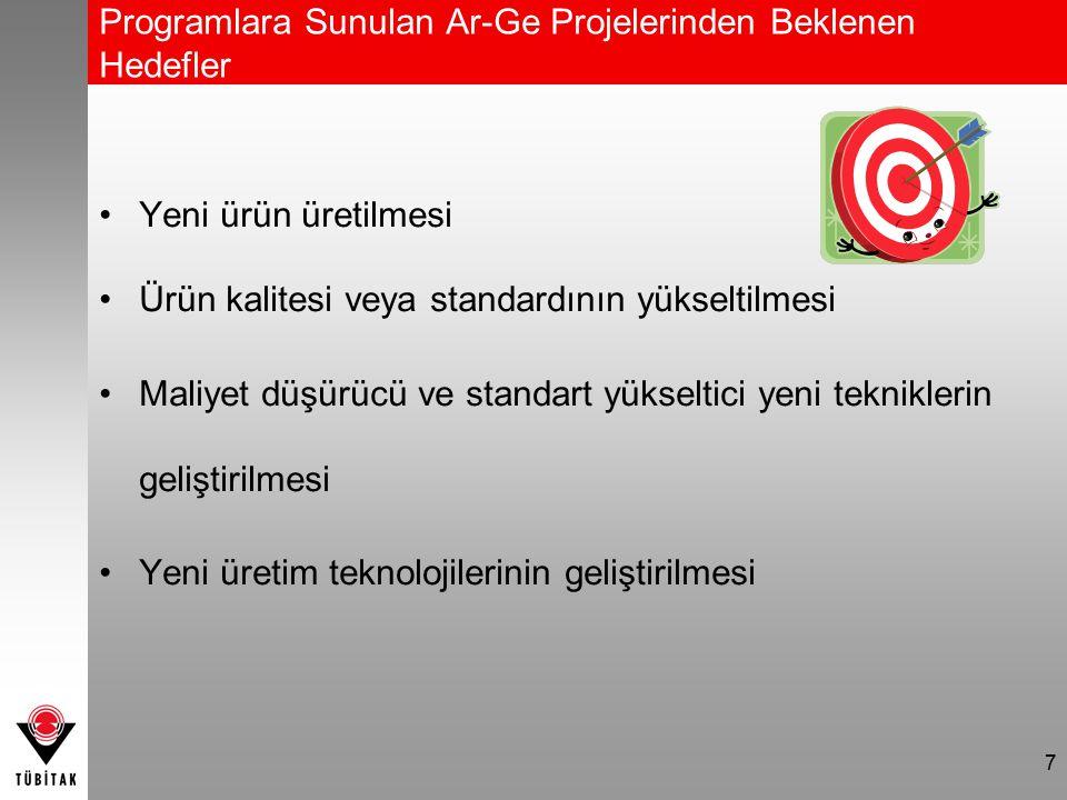 Programlara Sunulan Ar-Ge Projelerinden Beklenen Hedefler