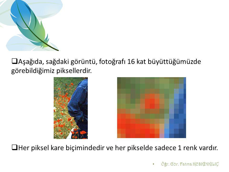 Her piksel kare biçimindedir ve her pikselde sadece 1 renk vardır.