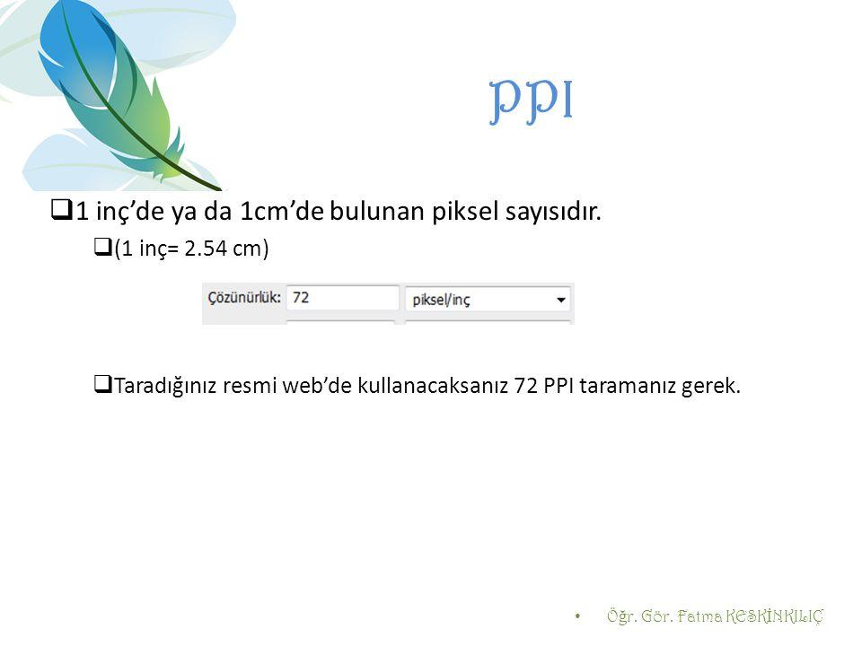 PPI 1 inç'de ya da 1cm'de bulunan piksel sayısıdır. (1 inç= 2.54 cm)