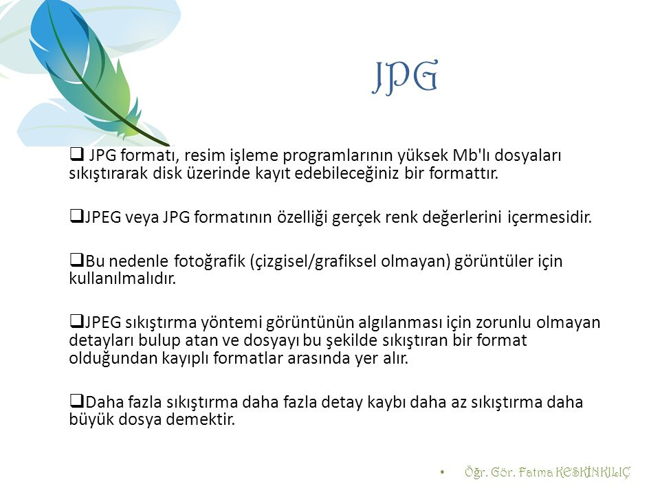 JPG JPG formatı, resim işleme programlarının yüksek Mb lı dosyaları sıkıştırarak disk üzerinde kayıt edebileceğiniz bir formattır.