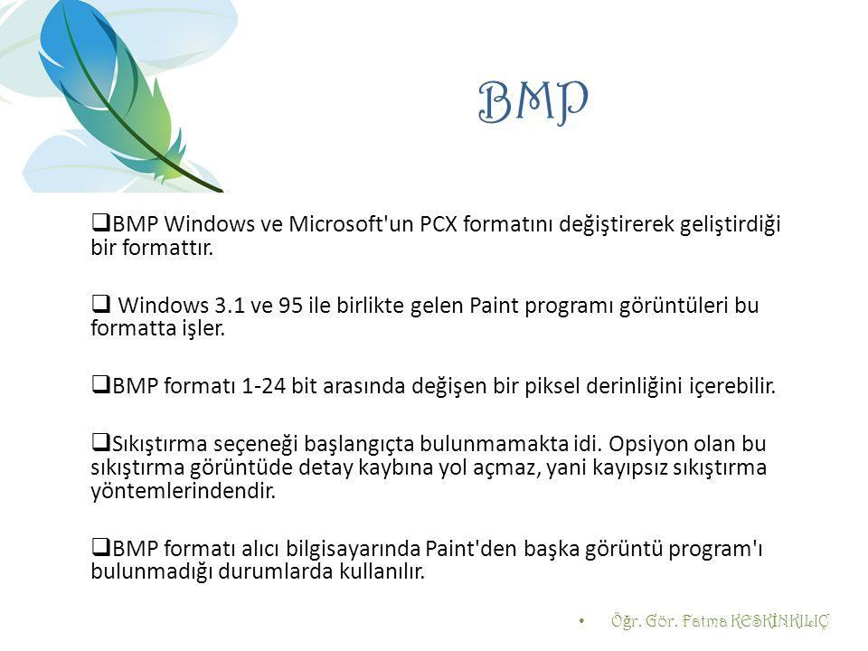 BMP BMP Windows ve Microsoft un PCX formatını değiştirerek geliştirdiği bir formattır.