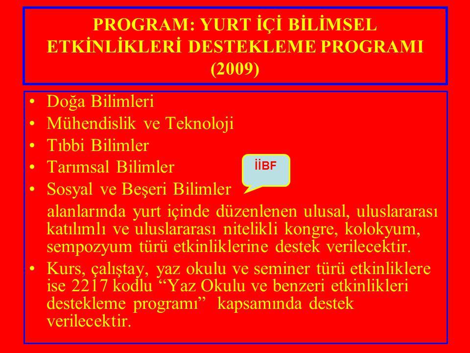 PROGRAM: YURT İÇİ BİLİMSEL ETKİNLİKLERİ DESTEKLEME PROGRAMI (2009)
