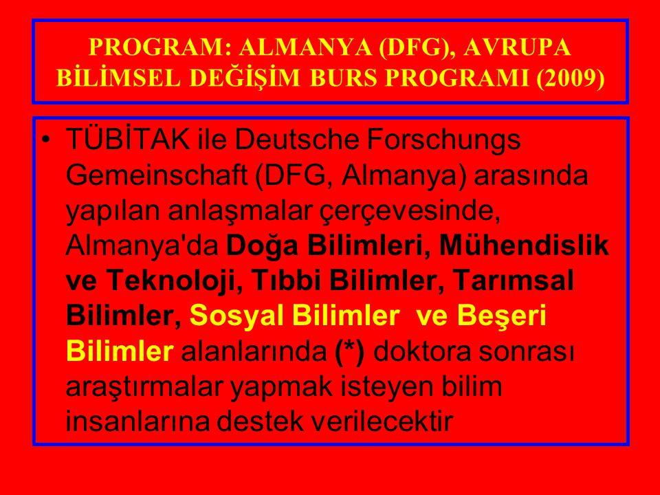 PROGRAM: ALMANYA (DFG), AVRUPA BİLİMSEL DEĞİŞİM BURS PROGRAMI (2009)