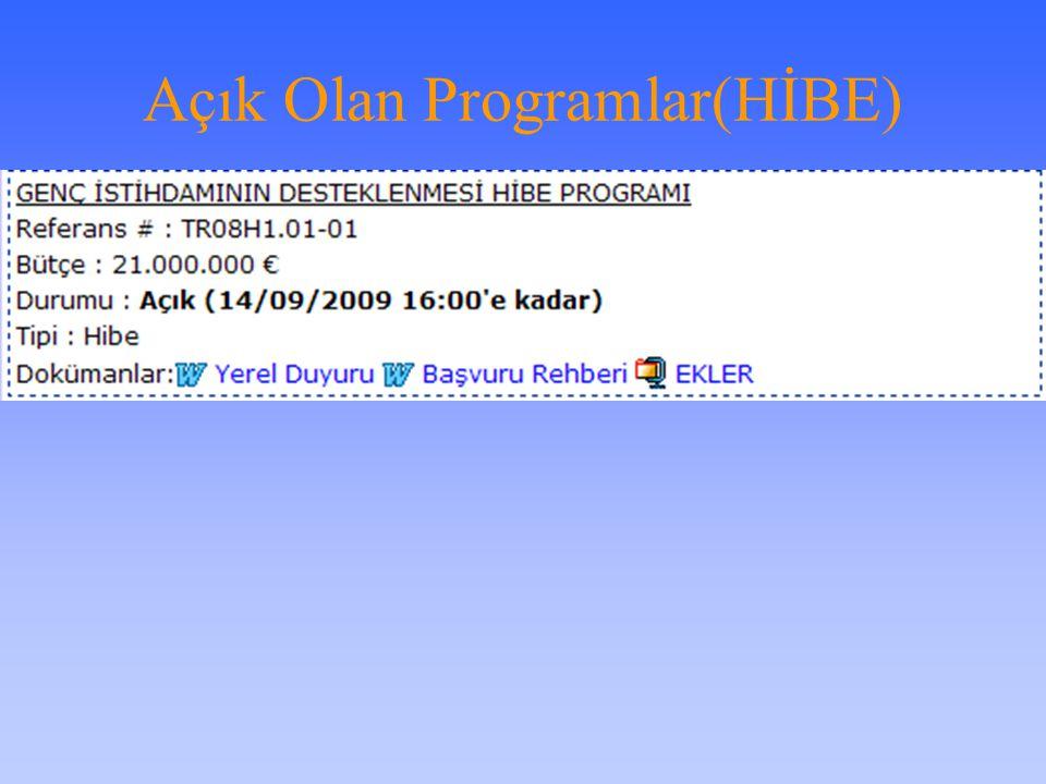 Açık Olan Programlar(HİBE)