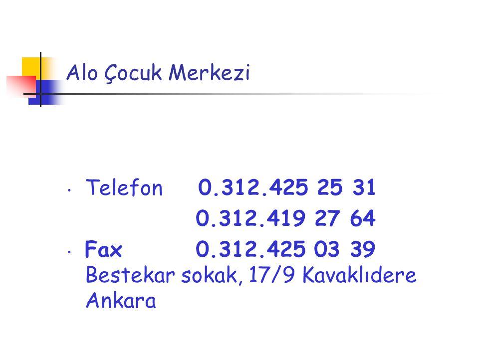 Alo Çocuk Merkezi Telefon 0.312.425 25 31. 0.312.419 27 64.