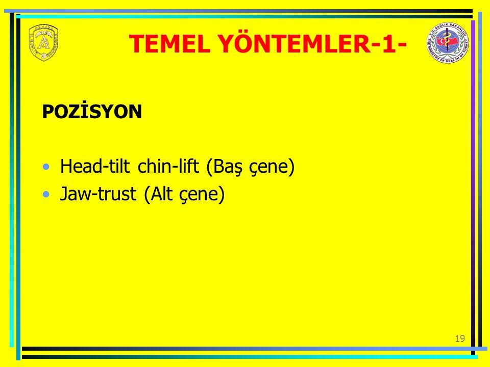 TEMEL YÖNTEMLER-1- POZİSYON Head-tilt chin-lift (Baş çene)