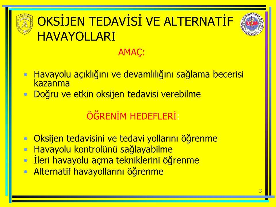 OKSİJEN TEDAVİSİ VE ALTERNATİF HAVAYOLLARI