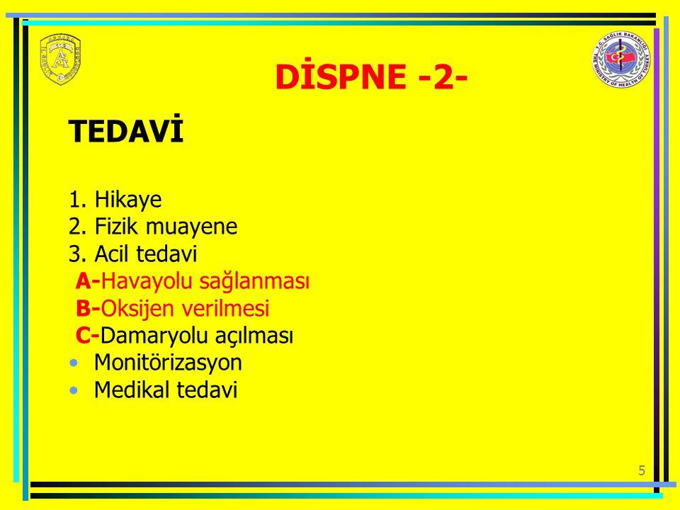 DİSPNE -2- TEDAVİ 1. Hikaye 2. Fizik muayene 3. Acil tedavi