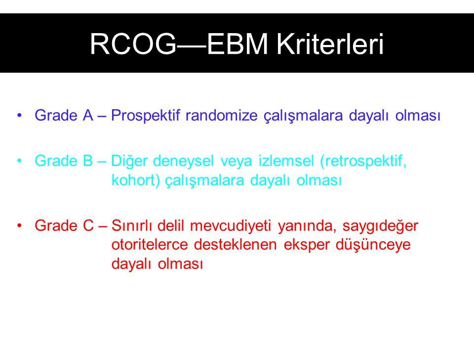 RCOG—EBM Kriterleri Grade A – Prospektif randomize çalışmalara dayalı olması.