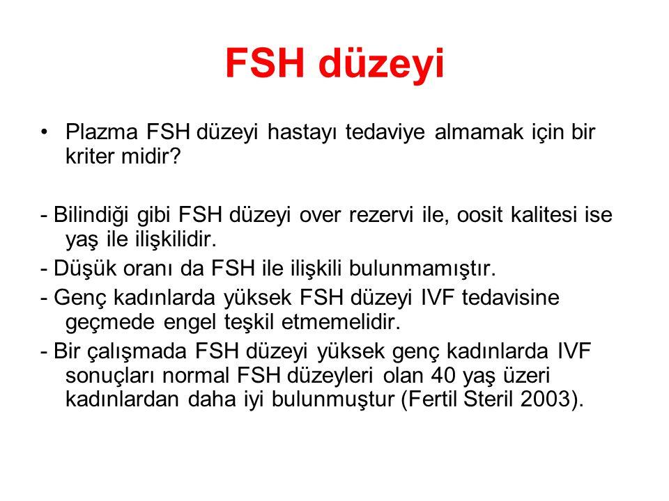 FSH düzeyi Plazma FSH düzeyi hastayı tedaviye almamak için bir kriter midir