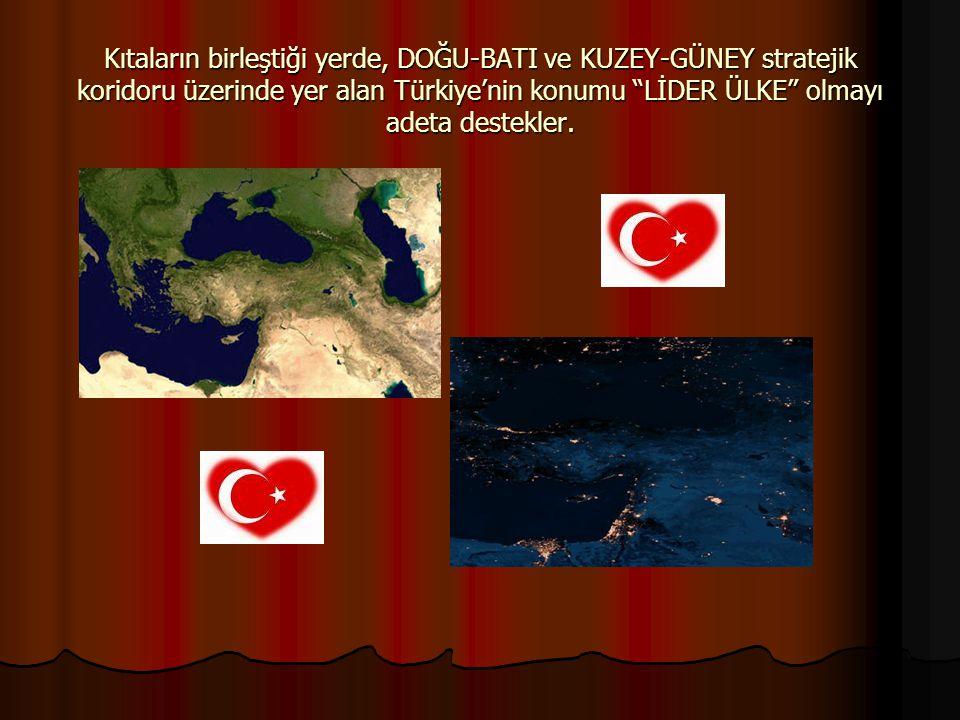 Kıtaların birleştiği yerde, DOĞU-BATI ve KUZEY-GÜNEY stratejik koridoru üzerinde yer alan Türkiye'nin konumu LİDER ÜLKE olmayı adeta destekler.