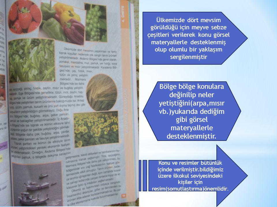 Ülkemizde dört mevsim görüldüğü için meyve sebze çeşitleri verilerek konu görsel materyallerle desteklenmiş olup olumlu bir yaklaşım sergilenmiştir