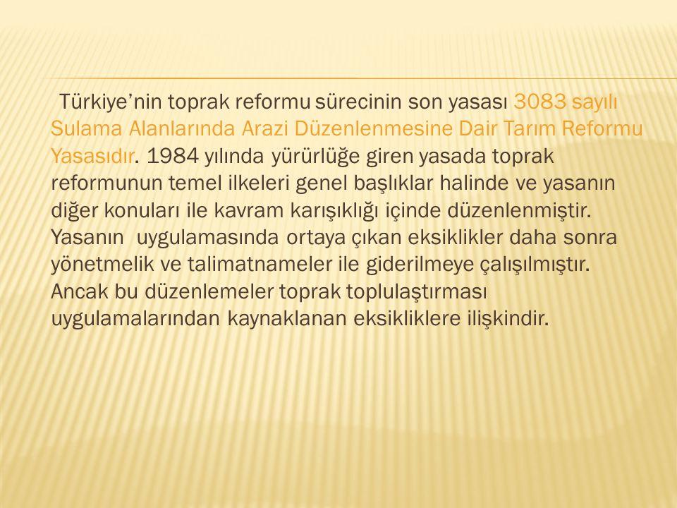 Türkiye'nin toprak reformu sürecinin son yasası 3083 sayılı Sulama Alanlarında Arazi Düzenlenmesine Dair Tarım Reformu Yasasıdır.