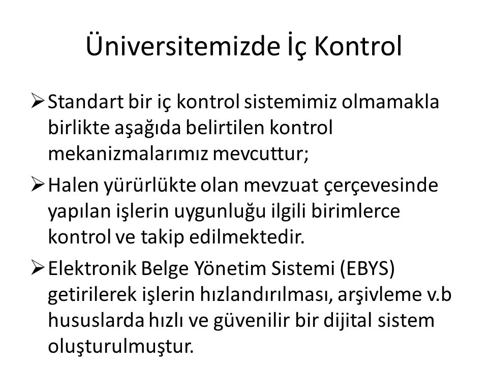 Üniversitemizde İç Kontrol