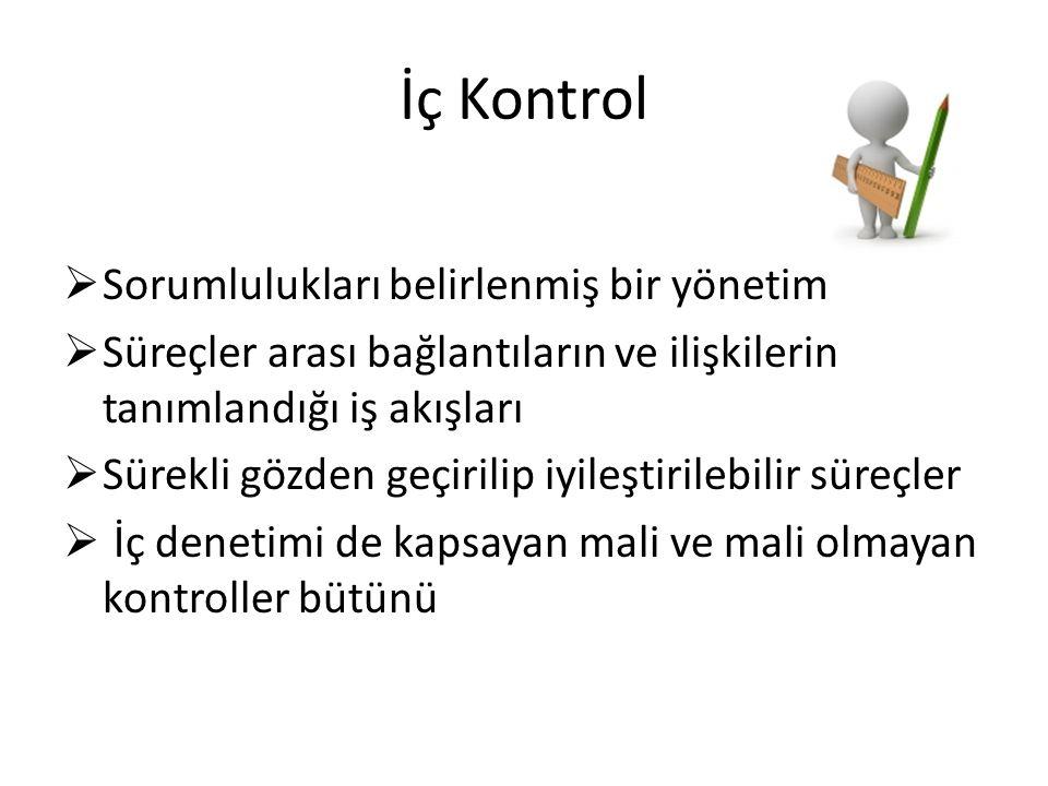 İç Kontrol Sorumlulukları belirlenmiş bir yönetim